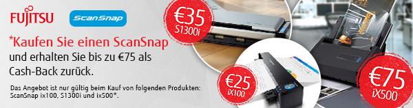 Fujitsu Cashback auf ScanSnap ix100, S1300i, ix500