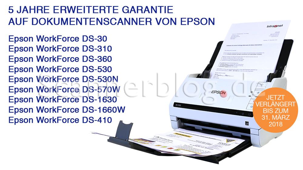 5 Jahre erweiterte Garantie auf Epson Scanner