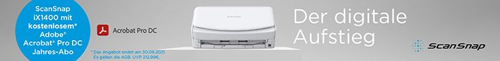 Fujitsu ScanSnap iX1400 Adobe Acrobat Pro DC Jahresabo Aktion