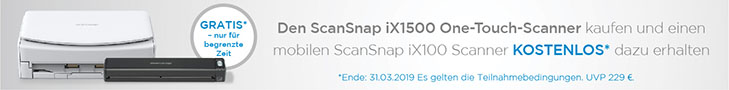 Fujitsu ScanSnap iX1500 Aktion gratis ScanSnap ix100