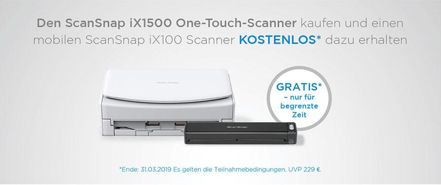 Beim Kauf eines Fujitsu ScanSnap iX1500 gibt es einen ScanSnap iX100 gratis dazu